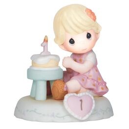 Precious Moments® Growing in Grace Blonde Hair Girl With Birthday Cake Figurine, Age 1, , large