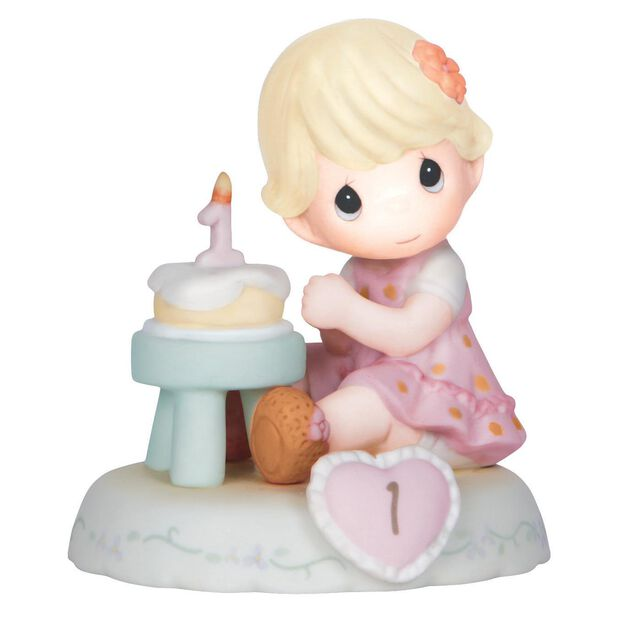 Precious Moments Growing In Grace Blonde Hair Girl With Birthday - Birthday cake figurines