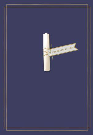 Diploma Roll on Navy Graduation Card