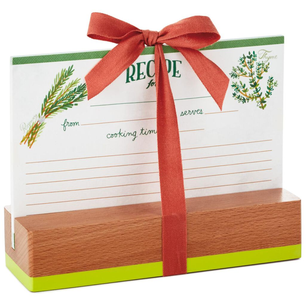 ... Herbs and Spices Recipe Cards and Wooden Stand Gift Set ...