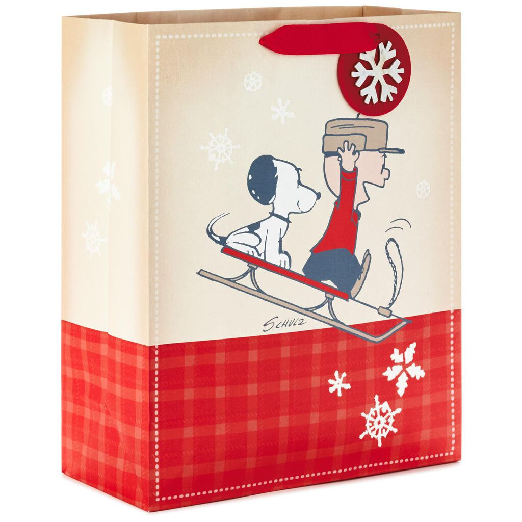 Peanuts® Snoopy and Charlie Brown on Sled X-Large Christmas Gift Bag ...