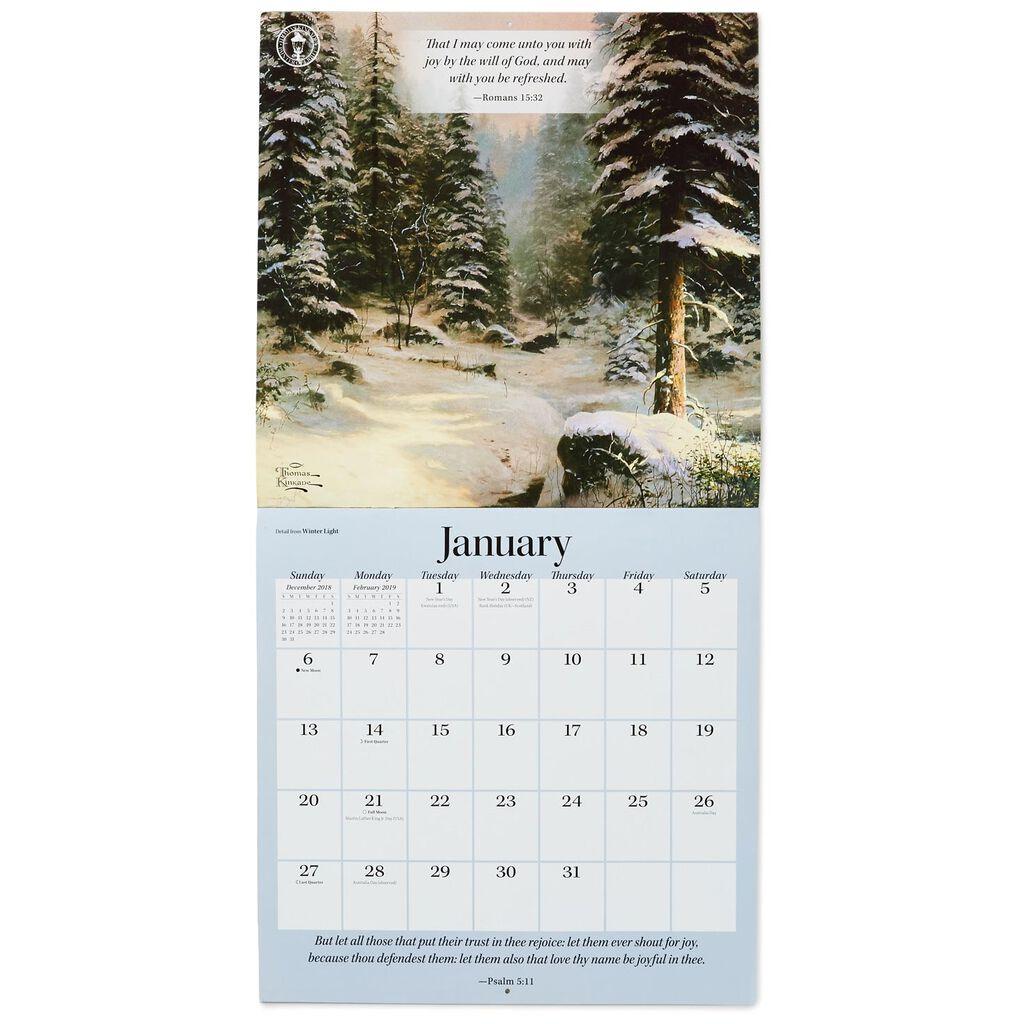 thomas kinkade gardens of grace 2019 wall calendar 12 month