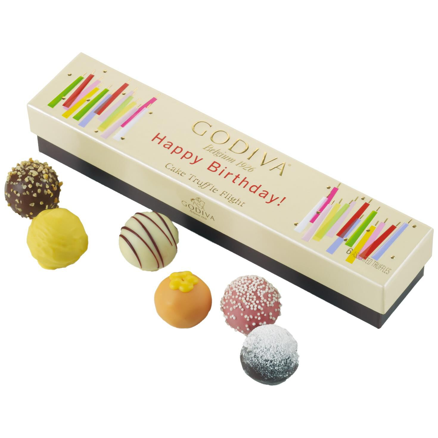 Godiva Chocolatier Happy Birthday Cake Truffle Flight In Box 6