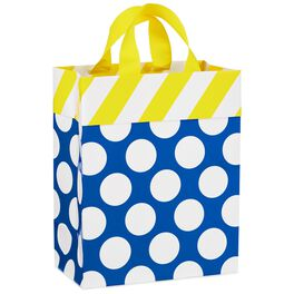 "White Dots on Blue With Yellow Stripes Medium Gift Bag, 9.5"", , large"