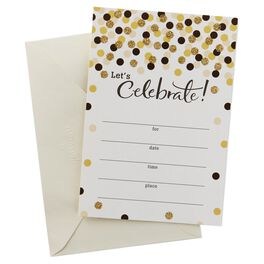 Gold Dots Celebration Invitations, Pack of 20, , large