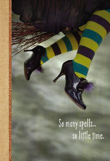 Witch Flying on Broomstick Halloween Card,