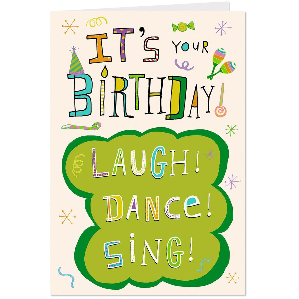Laugh Dance Sing Musical Birthday Card