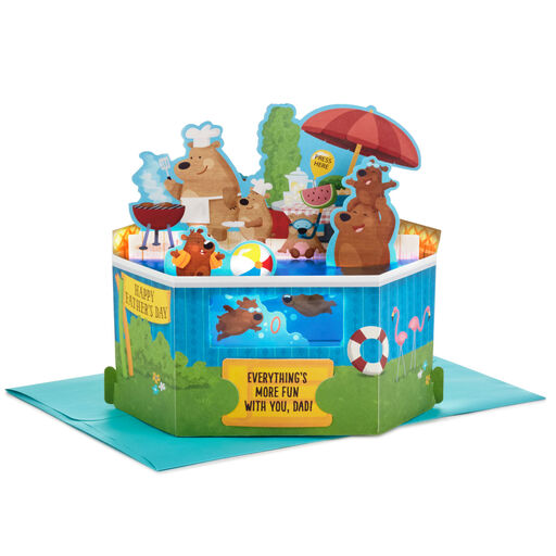 Backyard Pool Pop Up Musical Fathers Day Card With Light