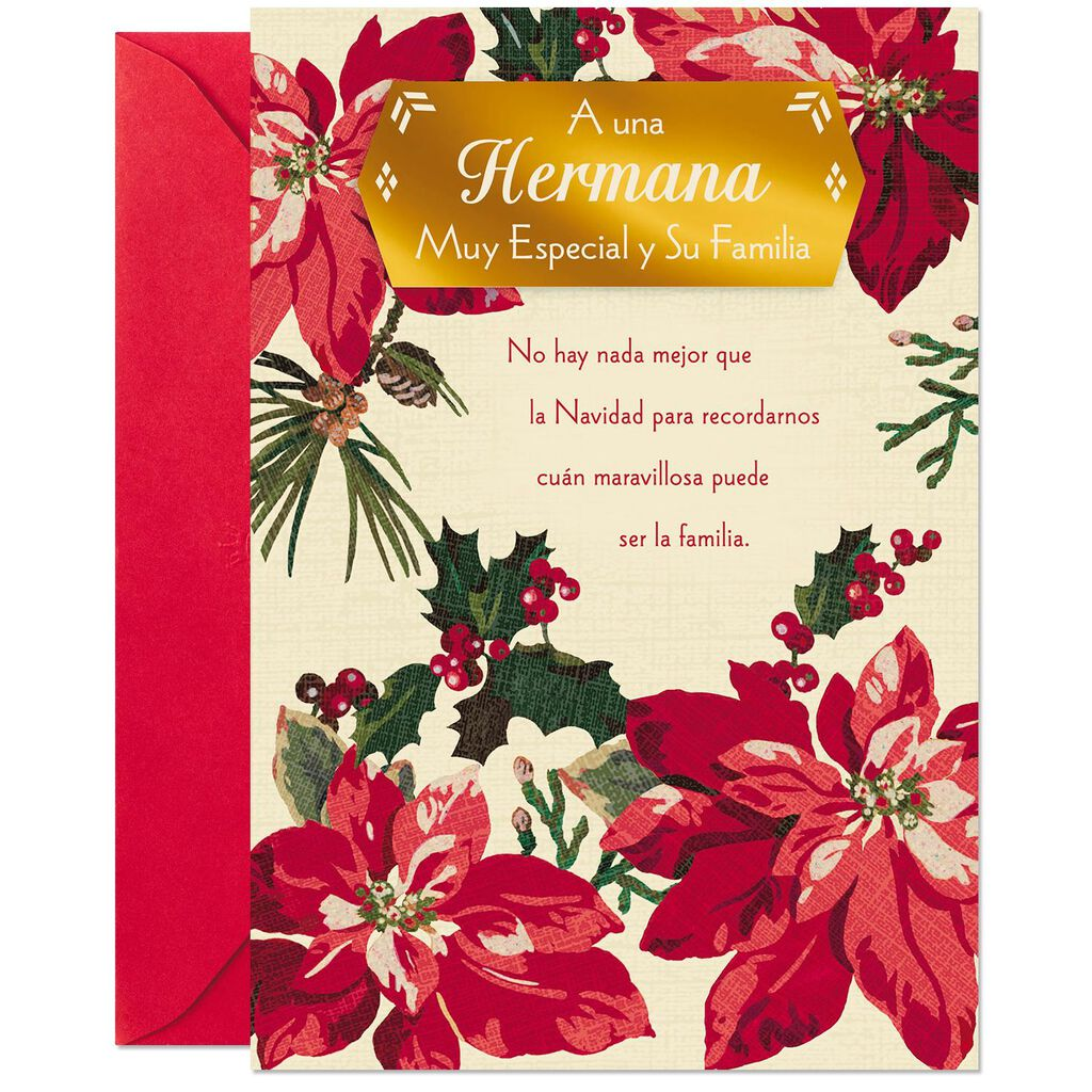 Poinsettias Spanish-Language Christmas Card for Sister and Family ...