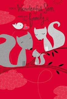 Loving Squirrels for Son and His Family Valentine's Day Card,