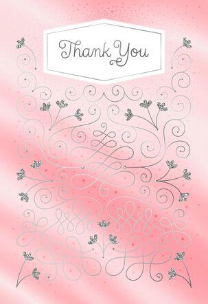 Pink Scrolls Thank You Card