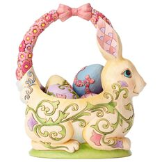 Jim Shore Easter Basket With 4 Eggs Figurine Figurines