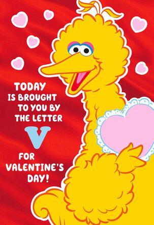 Sesame Street Big Bird Letter V Valentine's Day Card