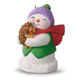 Snow Buddies Snowman and Hedgehog Ornament, , large