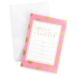Pink With Gold Dots Invitations, Pack of 10, , large