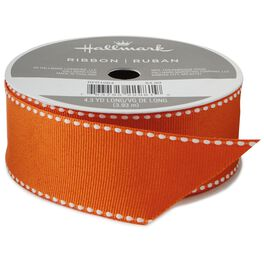 "Orange Saddle Stitch 1 1/4"" Grosgrain Ribbon, 4.3 yards, , large"