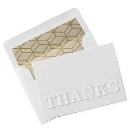 White Embossed Thank You Notes, Pack of 8, , large
