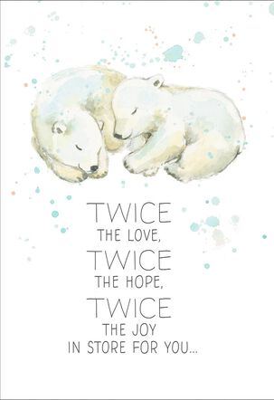 Polar Bear Cubs New Baby Twin Boys Card