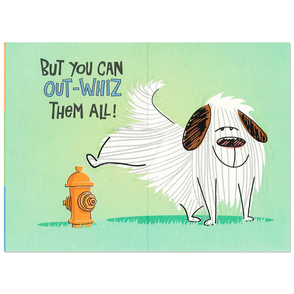 Dog And Fire Hydrant Funny Pop Up Birthday Card For Dad