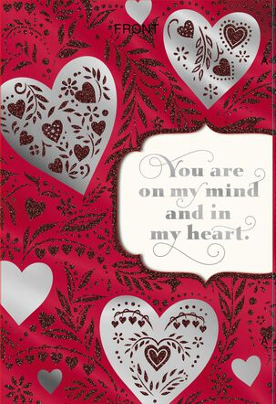 Silver Hearts With Glitter on Red Valentine's Day Card