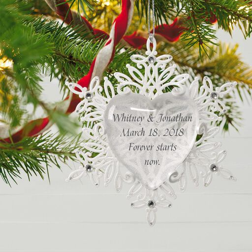 Snowflake Heart Personalized Ornament