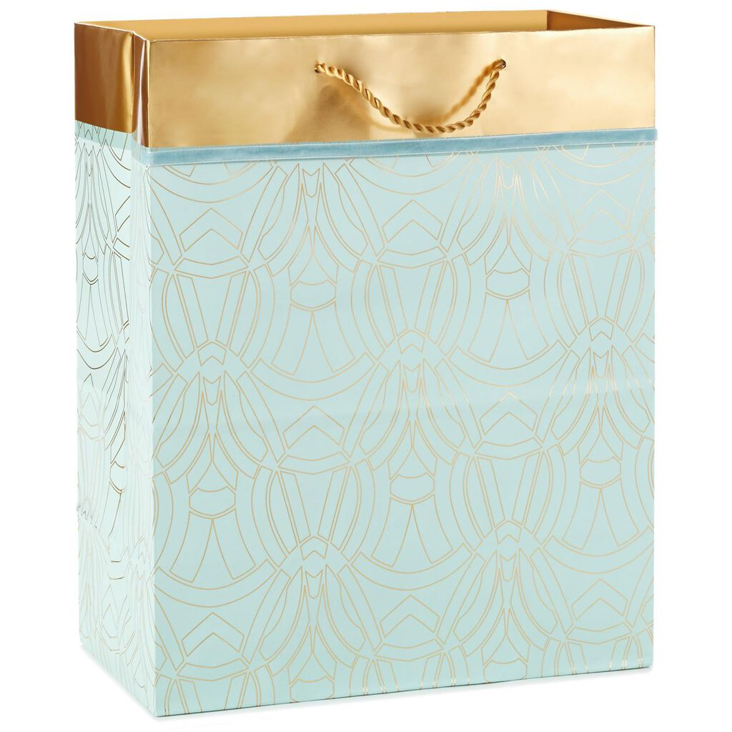 Aqua And Gold Arches Large Gift Bag 13