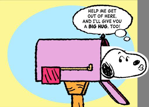 Snoopy Hug and Kiss for Mom Birthday Card,