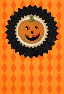 Bright and Smiley Pumpkin Halloween Card,