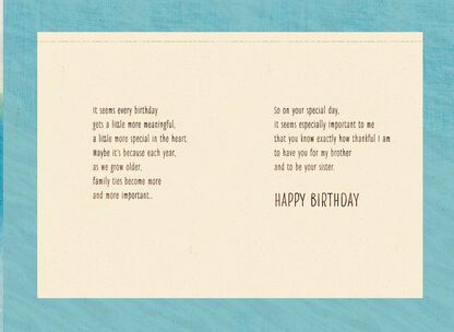 Thankful For You Birthday Card Brother From Sister