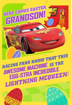 Cars Lightning McQueen Easter Card  With Stickers for Grandson