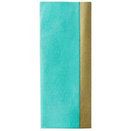 Gold/Aqua Blue Reversible Tissue Paper, 4 Sheets, , large