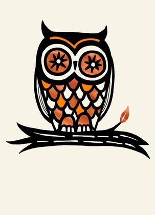 Orange and Black Owl Greeting Halloween Card
