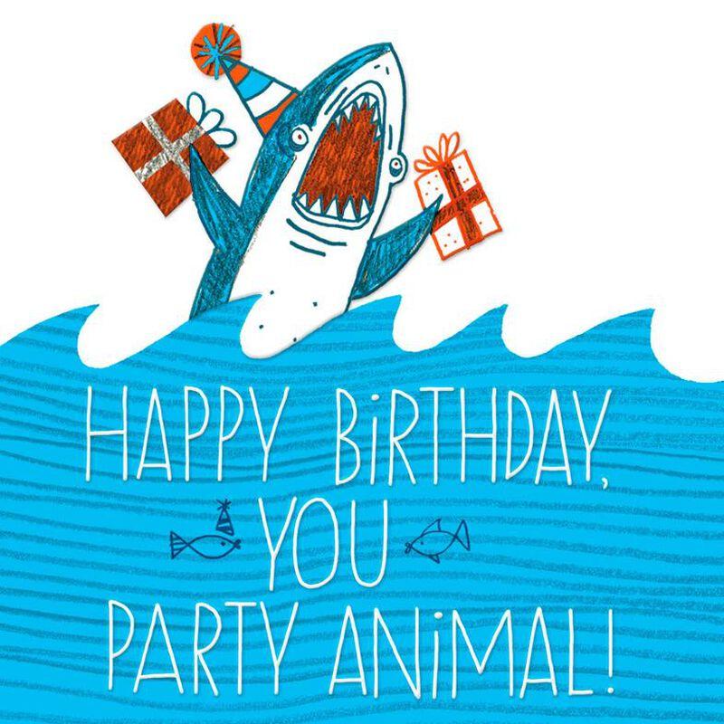 Shark party animal birthday card greeting cards hallmark bookmarktalkfo Gallery