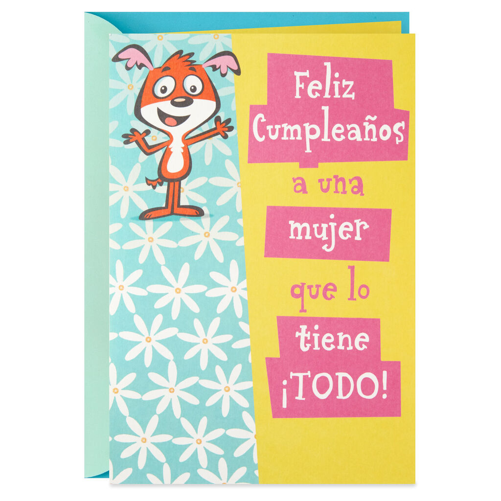 Shes Got It All Spanish Language Funny Pop Up Birthday Card