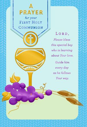 Chalice With Grapes and Wheat Stalks First Communion Card for Boy