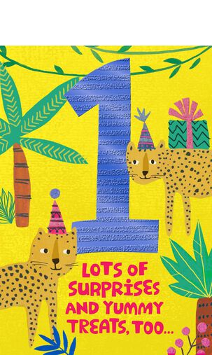 Jungle Animals Pop-Up 1st Birthday Card