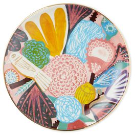Turquoise Flowers and Bird Dessert Plate, , large