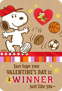 Peanuts® Snoopy and Woodstock Valentine's Day Card With Stickers,