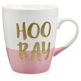 """""""Hooray"""" Jumbo Glitter Mug, 25 oz., , large"""