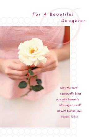 Rose in Hands Daughter Birthday Card