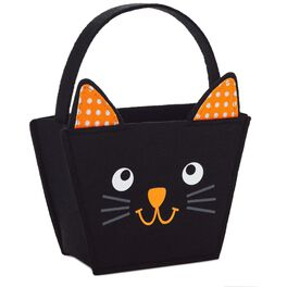 Black Cat Reusable Halloween Treat Bag, , large