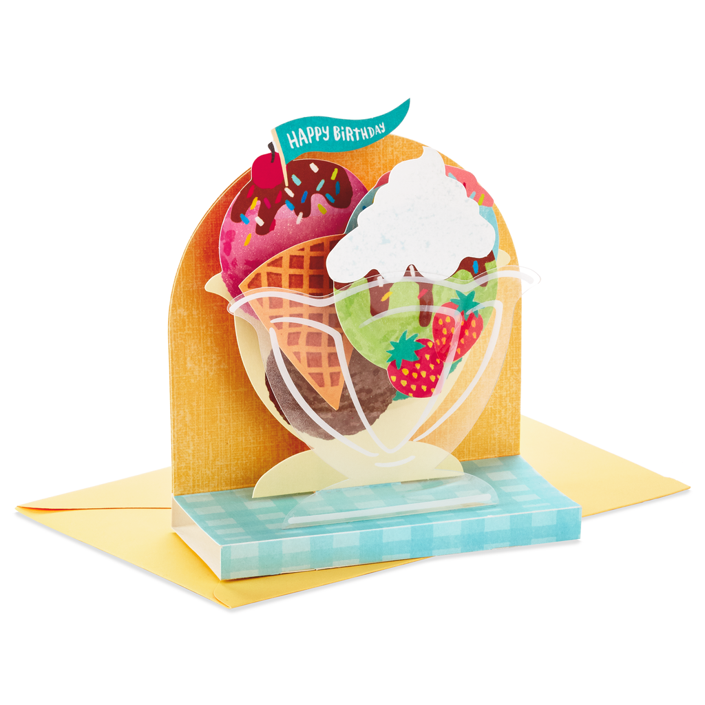 Ice Cream Sundae Pop Up Birthday Card