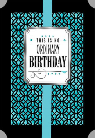 Blue and Black Circle Patterns Happy Birthday Card