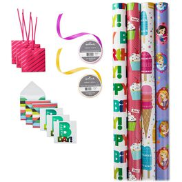 Girls Birthday Gift Wrap Kit, , large