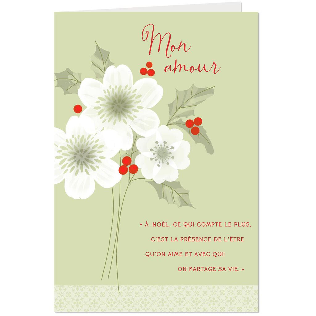 My Love French-Language Romantic Christmas Card - Greeting Cards ...