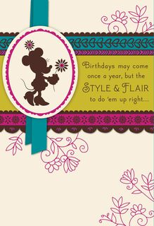 Happy Birthday With Minnie Mouse Style and Flair Card,