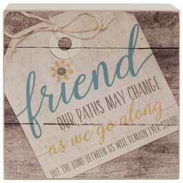Bond As Friends Remains Strong Floral Tag Box Sign, 4x4, , large