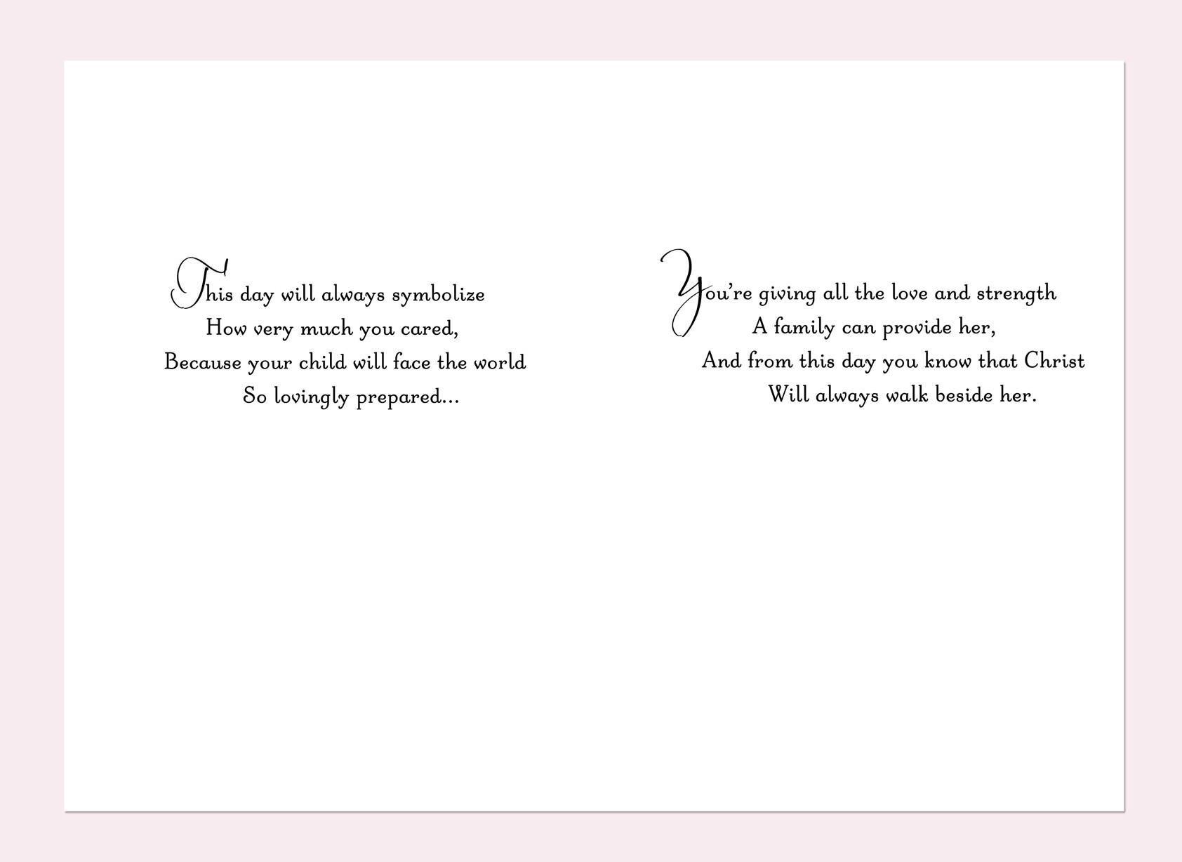 Floral Wreath Goddaughter Baptism Card for Parents - Greeting ...