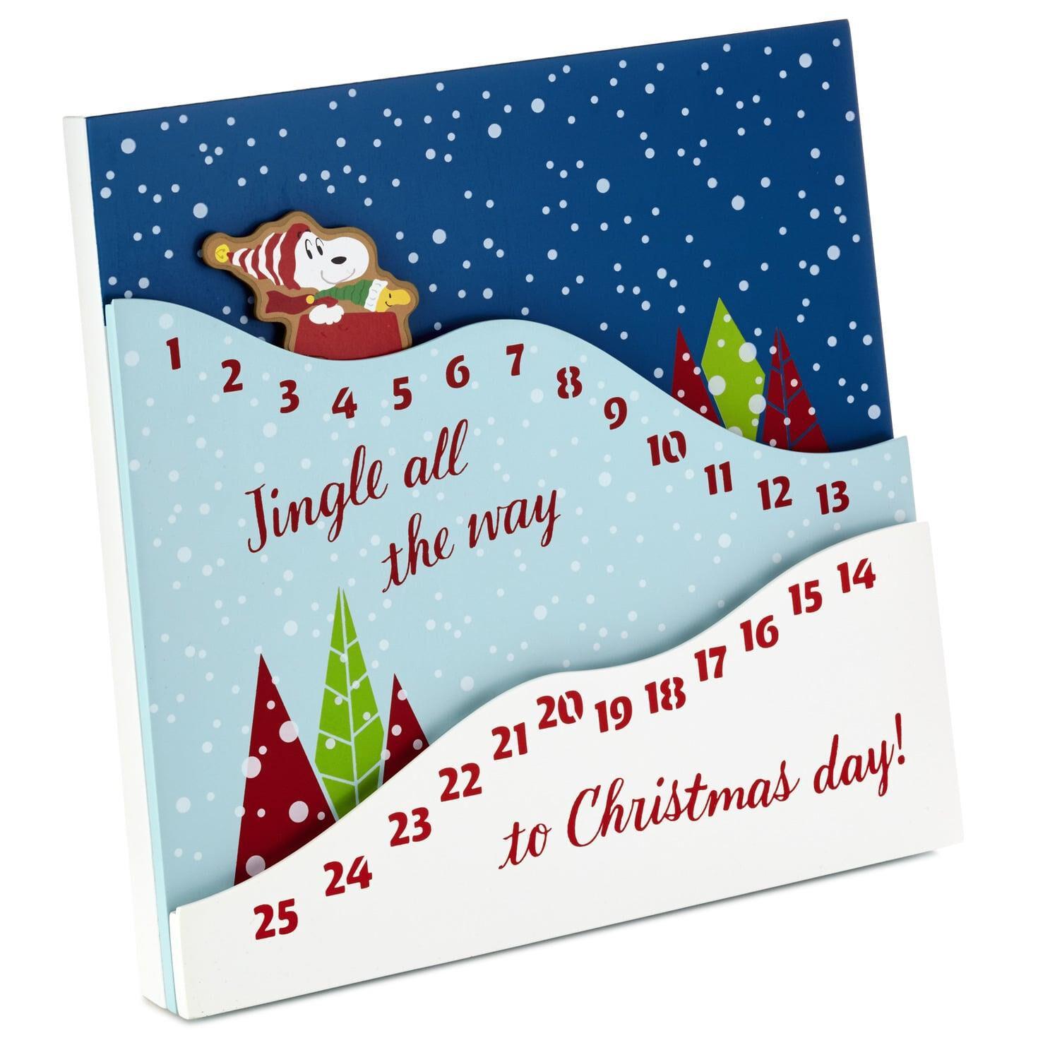 Christmas Countdown.Peanuts Sledding Snoopy Christmas Countdown Calendar Wood Sign 12x12