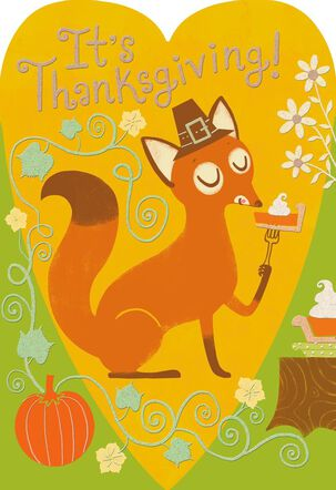 Fox Eating Slice of Pie Thanksgiving Card